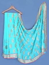 Embroidered Aqua Blue Chiffon Saree - Suchi Fashion