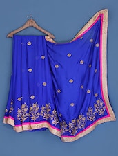 Embroidered Royal Blue Silk Chiffon Saree - Suchi Fashion