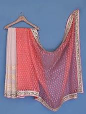 Peach And Grey Chiffon Saree - Suchi Fashion