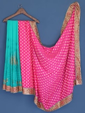 Mint Green And Pink Embroidered Chiffon Saree - Suchi Fashion