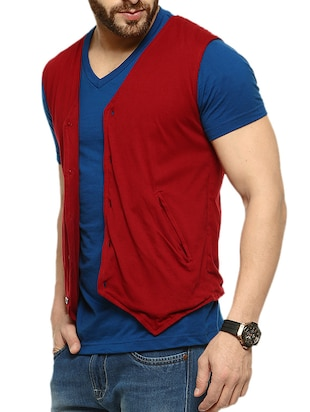 maroon cotton jacket - 10420914 - Standard Image - 2