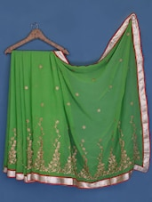 Leaf Green Floral Embroidered Chiffon Saree - Suchi Fashion
