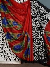 Red Paisley Printed Bhagalpuri Silk Saree - Vamika