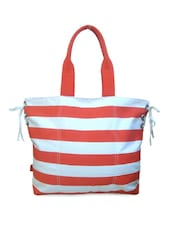 Orange Striped Tote Bag - ANGES BAGS