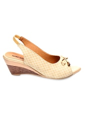 Textured Beige Sling-Back Peep-Toe Wedges - Marc Loire