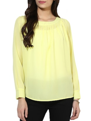 yellow poly crepe regular top
