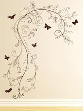 Artistic Floral Vine With Butterflies Wall Sticker - Decor Kafe