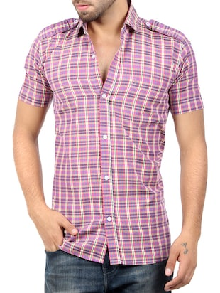 pink blended cotton casual shirt