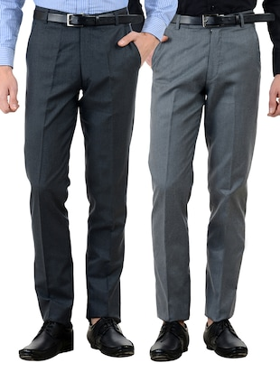 multi colored cotton formal trouser (Set Of 2)