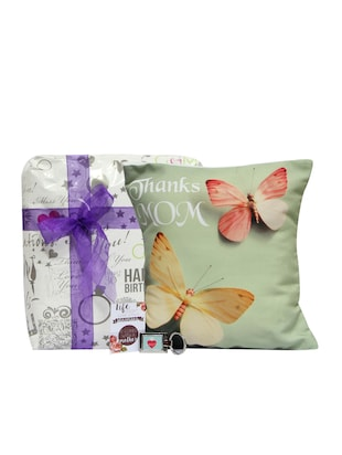 Butterfly Cushion for Mom - Printed Cushion Cover 1, Filler 1, Mothers Day Tag 1, Mothers Day Keyring 1 - GIFTS110921