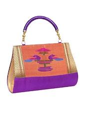 Purple, Peach Pure Silk Ethnic Clutch - By