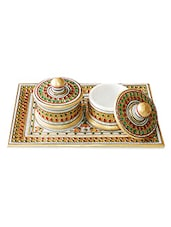 Gold Painted Tray With 2 Utility Containers - Chaste Creations