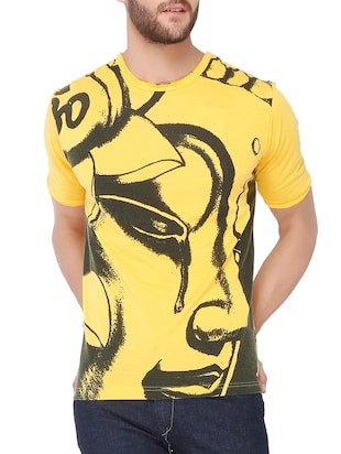 yellow 100% cotton tshirt -  online shopping for T-Shirts