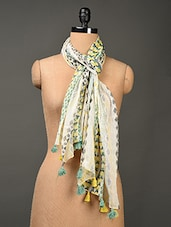Printed Multi Colored  Linen Stole - Jaipur Vogue