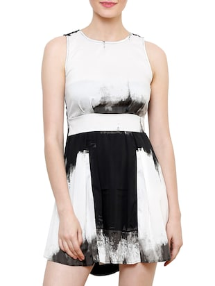 White And Black Flaired Dress