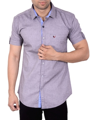 Purple Solid Casual Shirt