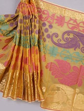Banarasi Silk Saree With Zari Border - Avishi Saree