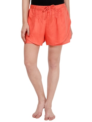 orange viscose regular shorts