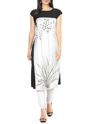 ZIYAA White Color Boat Neck Faux Crepe kurta
