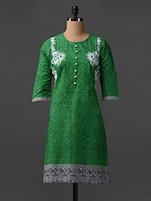 Paisley Print Round Neck Cotton Kurta - SHREE