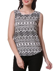 Monochrome Pattern Printed Polyester Top - Purys