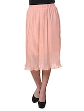 Peach Pleated Casual Skirt - Purys