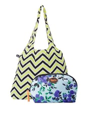 Chevron Tote Bag & Floral Pouch Combo - Be... For Bag