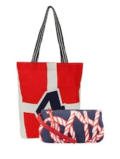 Stripes Printed Tote Bag & Printed Wrislet Combo - Be... For Bag