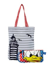 Printed Tote Bag & Donald Duck Wrislet Combo - Be... For Bag