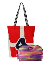 Stripes Printed Tote Bag & Abstract Pouch Combo - Be... For Bag