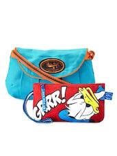 Printed Sling Bag & Donald Duck Wrislet Combo - Be... For Bag - 1046699