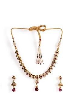 Kundan Necklace Set With Ruby Drop - Jorie Bazaar