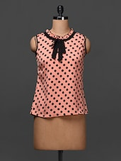 Pink Polka Dots Polycrepe Top - Popnetic