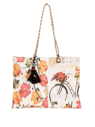 floral printed cotton canvas Tote Bag
