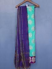 Zari Embroidered Contrasting Border Chanderi Cotton Suit Set - Riti Riwaz