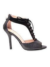 Black  Faux Leather High Heels - Klaur Melbourne