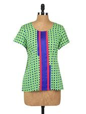 Polka Dots Round Neck Crepe Top - Fashion205