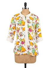 Floral Print Lace Border Top - Fashion205