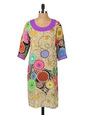 Round Neck Printed Georgette Kurta - Fashion205