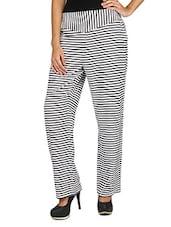 White & Black Striped Crepe Pant - Fashion205