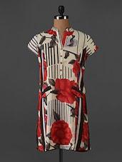 Floral Printed Mandarin Collar Tunic - Forever Fashion