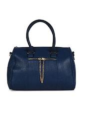 Blue Front Zipper Duffle Handbag - Hotberries