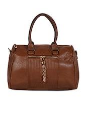 Brown Front Zipper Duffle Handbag - Hotberries