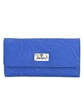 Blue Textured Multi Pocket Ladies Wallet - Dandy