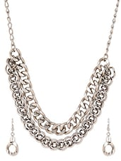 Interlinked Double Layered Stainless Steel Neckpiece Set - By