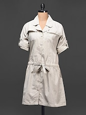 Solid Grey Cotton Shirt Dress - Raaziba