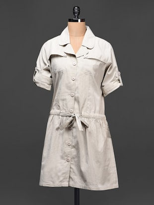 Solid grey cotton shirt dress
