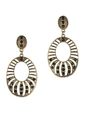 Antique Gold  Oval Earrings With Black  Stones - THE BLING STUDIO