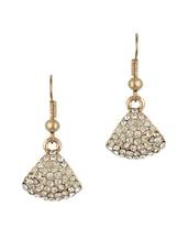 Golden Stones Fan Shaped Dangle Earrings - THE BLING STUDIO