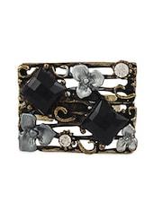 Antique Black Beads Rectangular Ring - THE BLING STUDIO